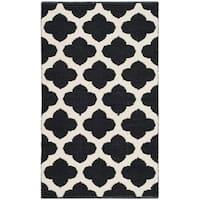 Safavieh Montauk HandWoven Cotton Transitional Geometric Black/ Ivory Area Rug - 2'6 x 4'