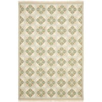Safavieh Hand-woven Sumak Blue/ Beige Wool Rug - 8' x 10'