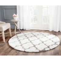 Safavieh Handmade Barcelona Shag White/ Silver Trellis Polyester Rug