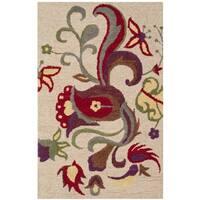 "Safavieh Handmade Blossom Beige Floral Wool Rug - 2'6"" x 4'"