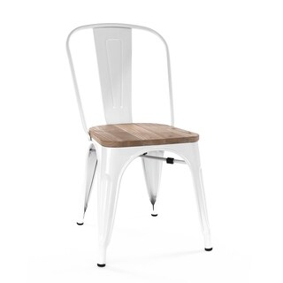 Amalfi Glossy White Light Elm Wood Stackable Side Chair (Set of 2)