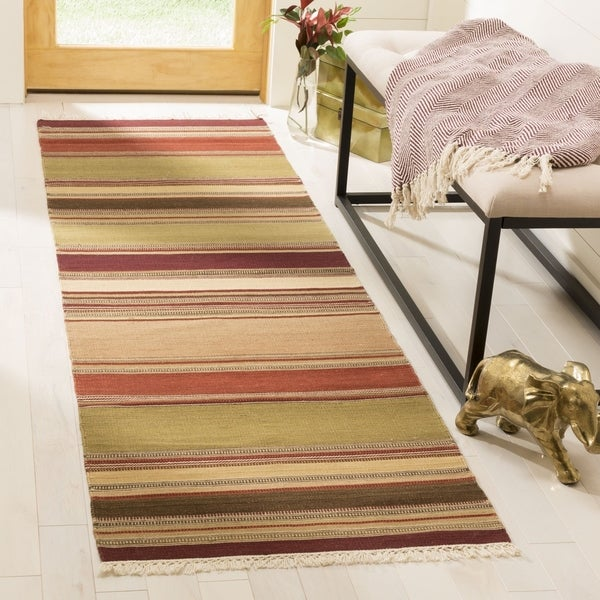 Safavieh Tapestry Woven Striped Kilim Village Red Wool Rug 2 X27 3