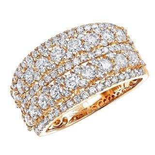 Ladies 14k Gold Diamond Ring 2 Carat Unique Diamond Wedding Band by Luxurman