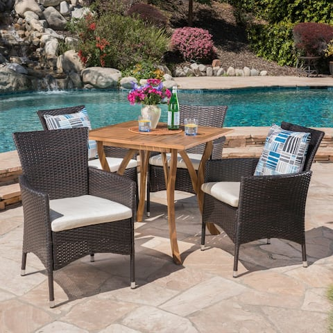 Danby Outdoor 5 Piece Acacia Wood/ Wicker Dining Set by Christopher Knight Home