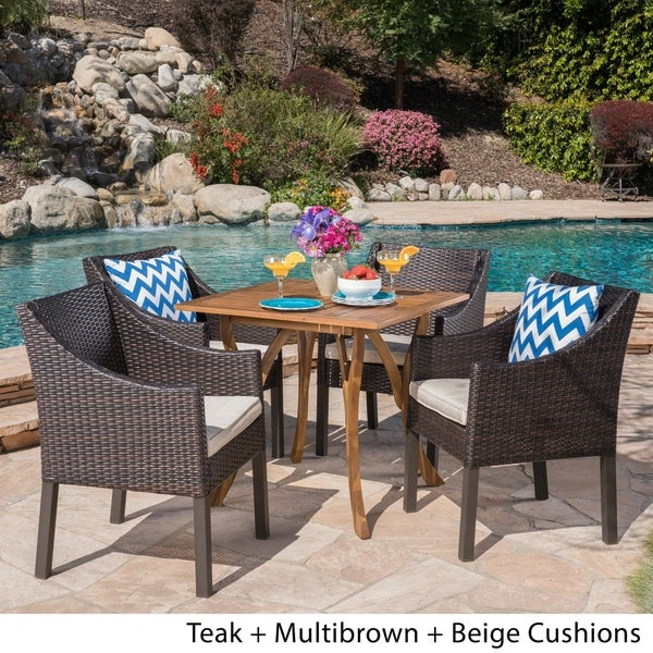 Parma Outdoor 5 Piece Acacia Wood/ Wicker Dining Set by Christopher Knight Home