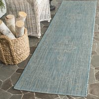Safavieh Indoor/ Outdoor Courtyard Aqua/ Grey Rug