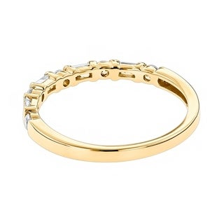 Anniversary Rings 14K Gold Baguette Round Diamond Womens Wedding Band 0.4ctw by Luxurman