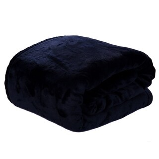 HYSEAS Velvet Plush Blanket, Home Fleece Bed Throw Blanket, Queen Size, Navy Blue
