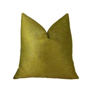 Plutus Deep Lemon Grass Metallic Citrine and Gold Handmade Decorative Throw Pillow