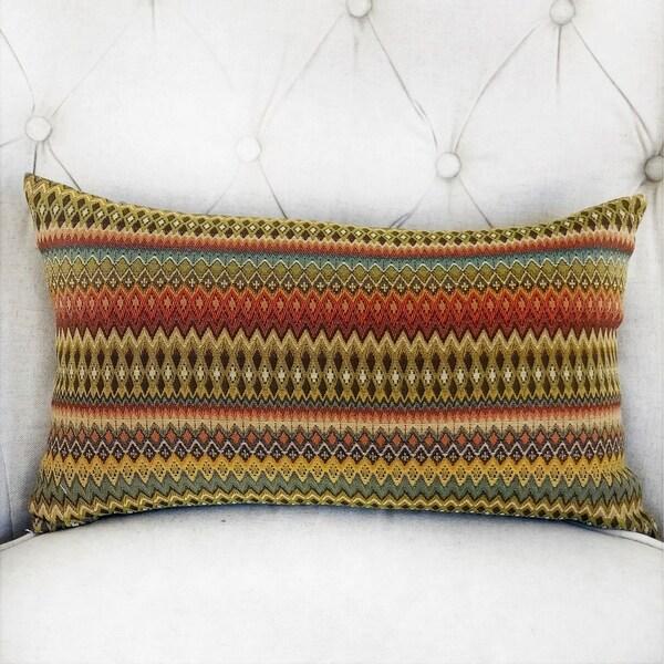 Plutus Zipline Orange Green and Blue Handmade Decorative Throw Pillow