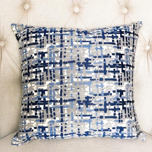 Plutus Tierra Monte Plaid Navy Blue and Gray Handmade Decorative Throw Pillow