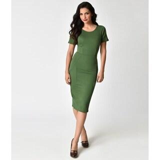 Unique Vintage Matcha Green Stretch Mod Wiggle Dress