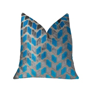 Plutus Castle Crest Turquoise and Gray Handmade Decorative Throw Pillow