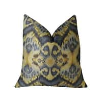 Plutus Sacred Pixie Blue Navy and Taupe Handmade Decorative Throw Pillow