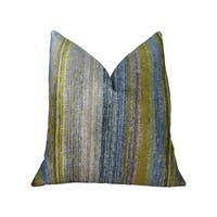 Plutus Clear Shore Blue Mustard and Lavender Handmade Decorative Throw Pillow