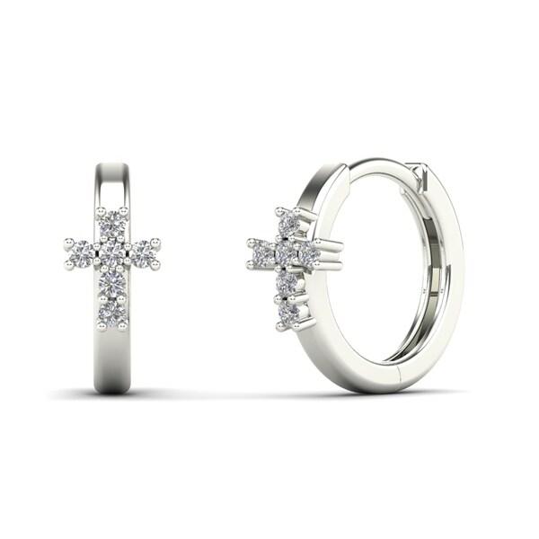 Aalilly 14k White Gold 1 8ct Tdw Diamond Cross Hoop Earrings H I I1