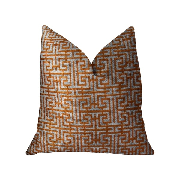 Plutus Crossroad Orange and Ivory Handmade Decorative Throw Pillow