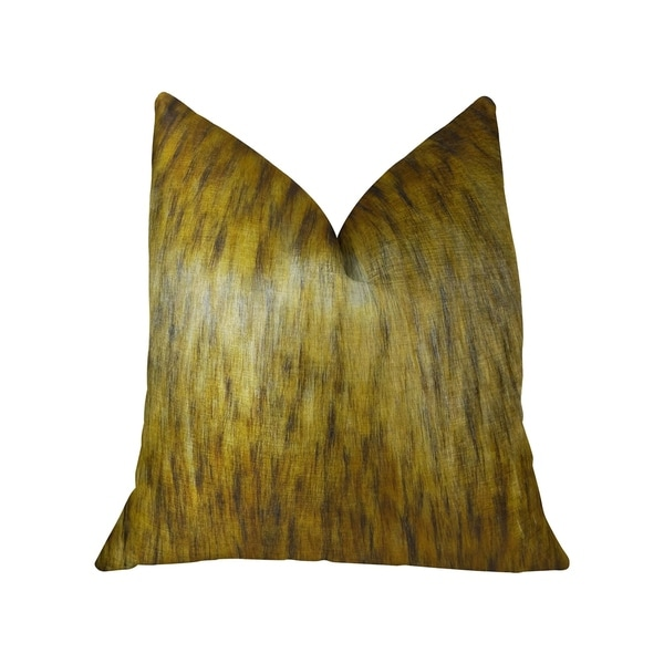 Plutus Golden Spirit Wolf Light and Dark Brown Handmade Decorative Throw Pillow