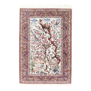 Pasargad NY Persian Isfahan Red Silk/Korker Wool Handmade Area Rug