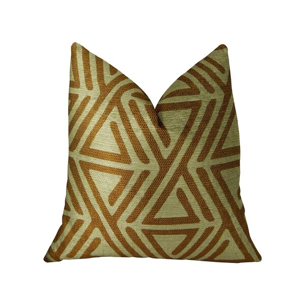 Plutus Arrow Maze Cream and Brown Handmade Decorative Throw Pillow