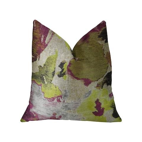 Plutus Water Lily Fuchsia Magenta and Citrine Handmade Decorative Throw Pillow