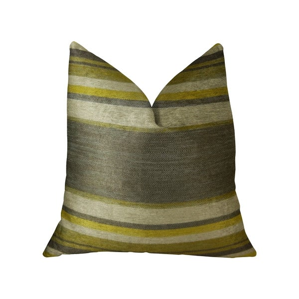 Plutus Olive and Fig Gray Citrine and Ivory Handmade Decorative Throw Pillow