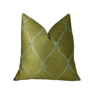 Plutus Abby  Taupe White and Blue Handmade Decorative Throw Pillow