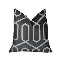Plutus Geometric Lattice Black Cream Handmade Luxury Pillow