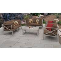 TK Classics Carlisle Greige Aluminum Frame and Cocoa Cushions Outdoor Furniture Set