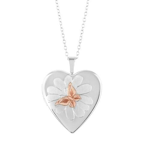 Butterfly & Flower Heart Shape Sterling Silver Locket Pendant with Chain