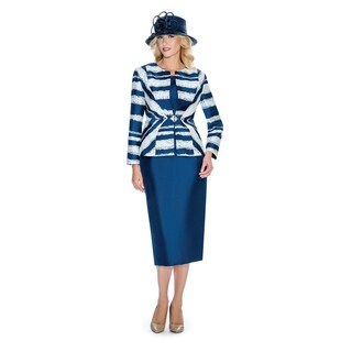 Giovanna Collection Women's Silk Twill Irregular Striped 3-piece Skirt Suit (More options available)
