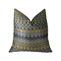 Plutus Blue Wynne Blue Navy and Yellow Handmade Luxury Pillow