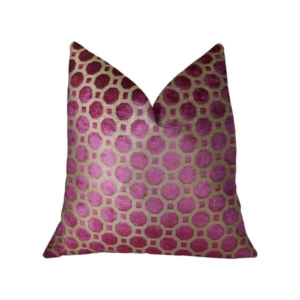 Plutus Velvet Plum Magenta and Taupe Handmade Decorative Throw Pillow