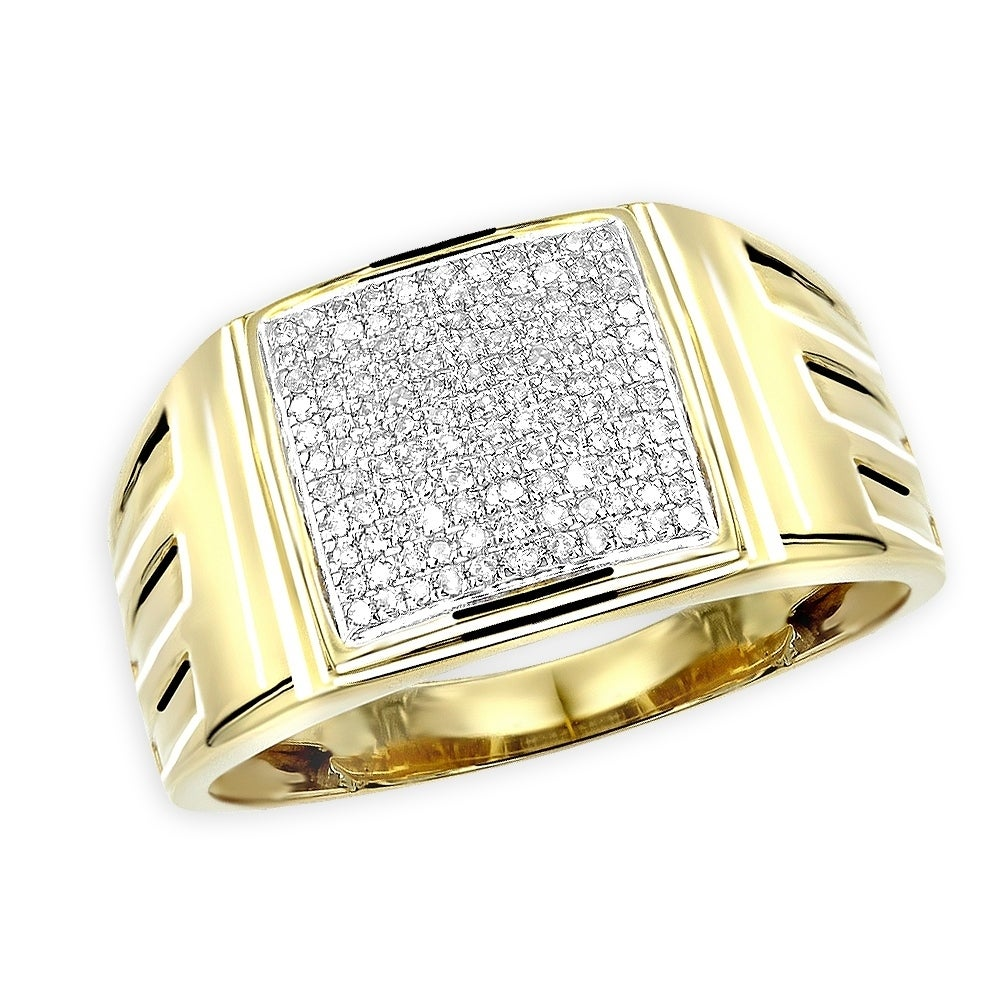 It is a picture of Affordable 42k Gold Mens Diamond Ring 42mm Wide Wedding Band 42.42ctw by Luxurman