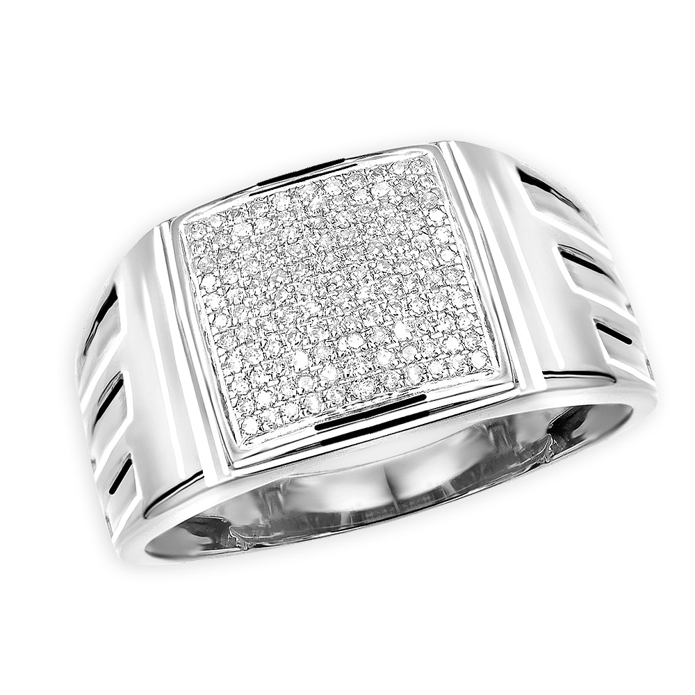 This is a photo of Affordable 45k Gold Mens Diamond Ring 45mm Wide Wedding Band 45.45ctw by Luxurman