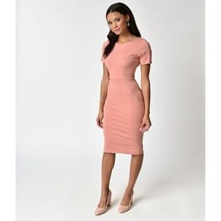 Unique Vintage Peach Pink Stretch Mod Wiggle Dress