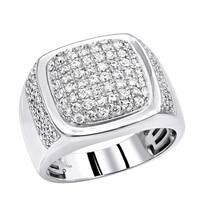 Mens Diamond Rings 10k Gold Unique Diamond Wedding Band 1.5ctw by Luxurman