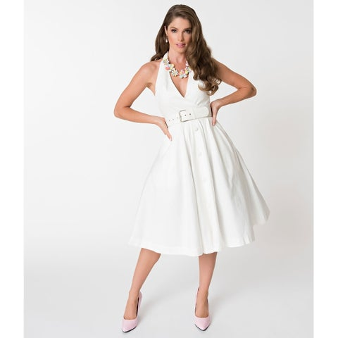 Janie Bryant For Unique Vintage White Halter Tarrytown Hostess Dress