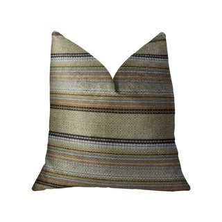 Plutus Lexington Park Taupe and Brown Handmade Decorative Throw Pillow