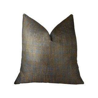 Plutus Vibrant Tazanite Blue and Brown Handmade Luxury Pillow