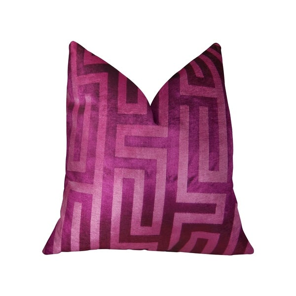 Plutus Velvet Maze Runner Fuchsia Handmade Decorative Throw Pillow