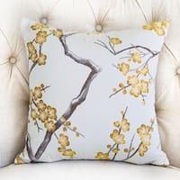 Plutus Yellow Blossom Yellow and Gray Handmade Luxury Pillow
