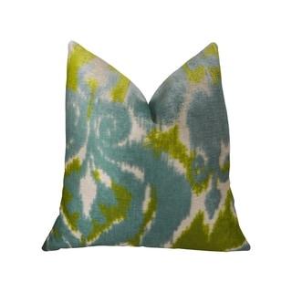 Plutus Velvet Pine Cliff Blue Citrine and Cream Handmade Decorative Throw Pillow
