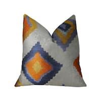 Plutus Isabeau Purple Orange and White Handmade Decorative Throw Pillow