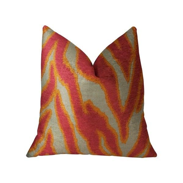 Plutus Fuchsia Fire Fuchsia Orange and Taupe Handmade Decorative Throw Pillow