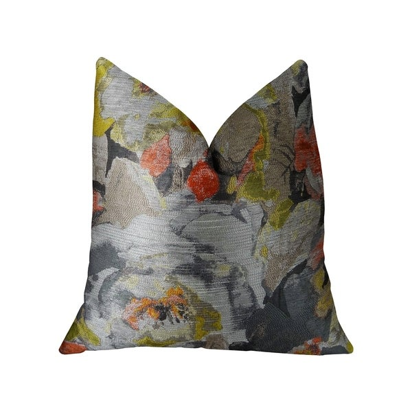 Plutus Fairy Garden Gray Yellow and Coral Handmade Decorative Throw Pillow