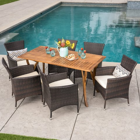 Bennett Outdoor 7 Piece Acacia Wood/ Wicker Dining Set by Christopher Knight Home