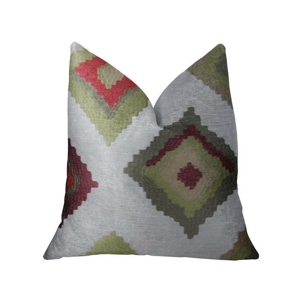 Plutus Earth Crust White Green and Red Handmade Decorative Throw Pillow