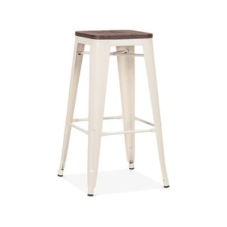 Amalfi Glossy Cream Elm Wood Stackable Barstool 30 Inch (Set of 4) - N/A