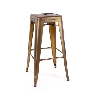 Amalfi Vintage Brass Steel Stackable Barstool 30 Inch (Set of 4) - N/A